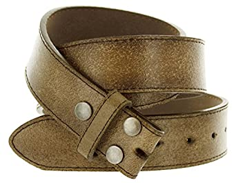 """Hot Buckles Vintage Look Distressed Brown Leather Strap Belt Snap On for Buckles (S (30""""-32""""))"""