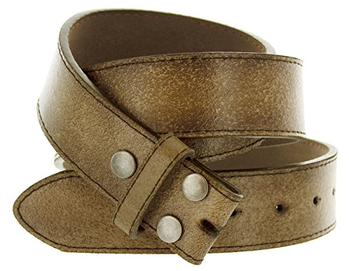 "Hot Buckles Vintage Look Distressed Brown Leather Strap Belt Snap On for Buckles (M (33""-35""))"