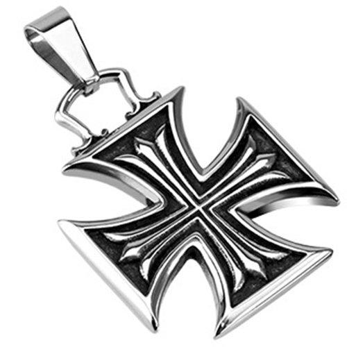 Ciondolo collana in acciaio inox BlackAmazement Iron Cross croce di ferro Celtic argento Gothic, acciaio inossidabile
