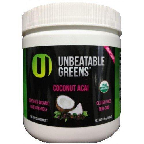Paleo Unbeatable Greens Superfood Usda Organic Gluten-Free Coconut Acai 28 Servings Jar