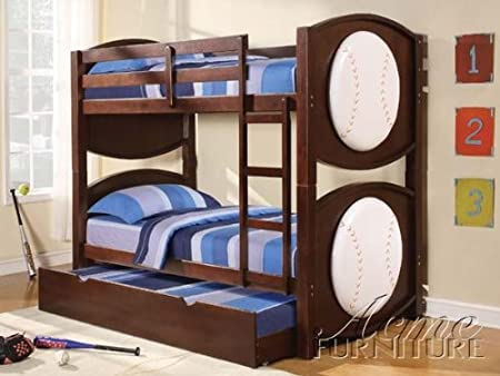 All Star Baseball Twin Bunk Beds, Espresso Finish