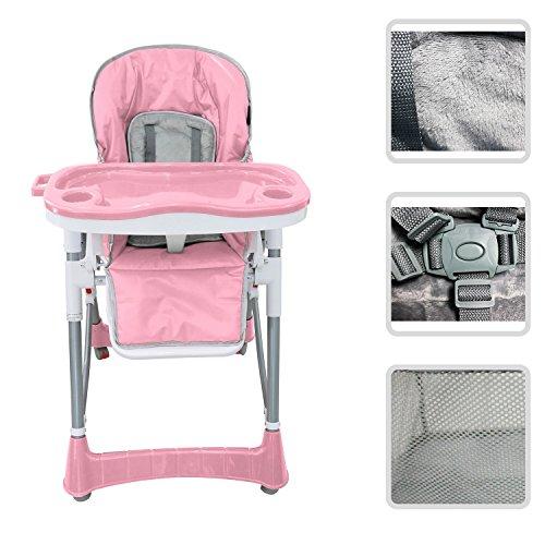 Babyfield - Chaise haute règlable pour bébé - Chaise rose avec tablette...