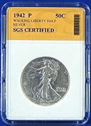 1942 P Silver Walking Liberty Half Dollar - Certified by SGS