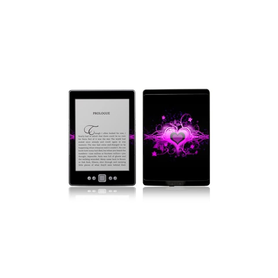 Glowing Love Heart Design Decorative Skin Decal Sticker for  Kindle 4 (5 way controller   4th Gen / release in Oct 2010)