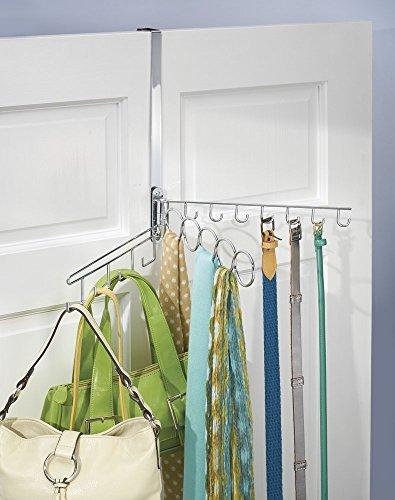 mDesign organizzatore armadio oscillante da porta o parete per sciarpe, cravatte, cinture, borse, gioielli di moda - Cromato