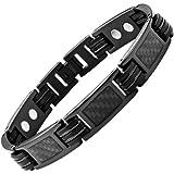 Willis Judd Mens Black Titanium Magnetic Bracelet Featuring Black Carbon Fibre In Black Velvet Gift Box + Free Link Removal Tool