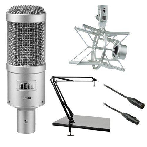 Heil Sound PR 40 Dynamic Cardioid Studio Microphone Bundle with PRSM Shock Mount, Two-Section Broadcast Arm and Microphone Cable (Sound Package compare prices)