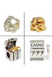 Pandora Style Four Charm Set - Stack of Silver & Gold Plated Coins, Treasure Chest, 777 Slot Machine
