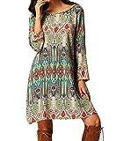 Women Bohemian Back V Neck Vintage Printed Ethnic Summer Shift Tunic Dress (XXL/US14, green)