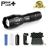 #1 Top Rated PeakPlus Brightest LED Tactical Flashlight CREE XML T6-Zoomable Adjustable Focus-5 Modes 1000 Lumens-Water Resistant Outdoor Torch. Rechargeable 18650 Lithium Ion Battery and Charger