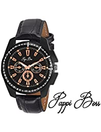 Pappi Boss Latest Designer Trendy Black Case Octane Ultimate ChronoGraph Pattern Analog Casual Wrist Watch - For...