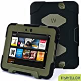 """Kindle Fire Hd 7"""" Cover Case New Hot Item High Quality Slim Fit Silicone Plastic Dual Protective Back Cover Standing Case Kid Proof Case for Amazon Kindle Fire Hd 7 Inch(will Only Fit Kindle Fire Hd 7""""previous Generation )-Multiple Color Options (Black/Olive)"""