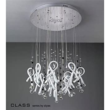 Class Round Pendant 20 Light Polished Chrome/White/Crystal   #Best Price