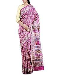 Unnati Silks Women Purple Pure Pashmina Tussar Silk Kantha Work Saree