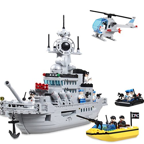 [Enlighten Military Series Missle Cruiser Warship Mini Figures Building Blocks Toy for Child / 843 pieces] (Ready For Action Military Costume)