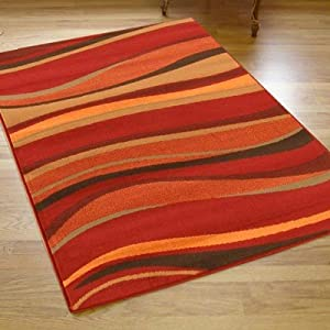 Large Contemporary Shiraz Rug In Red Terracotta & Brown 1.6m X 2.3m (5'3 X 7'6 Approx) from The Good Rug Company