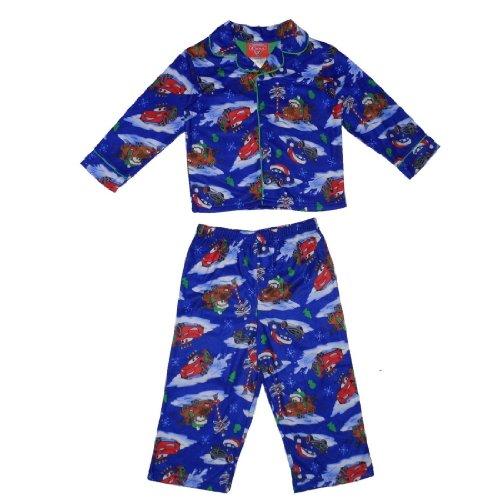 2 PCS SET: DISNEY CARS Boys Or Girls Fleece Sleepwear Pajama Top & Pants Set - Blue