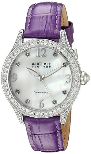 August Steiner Women's AS8188PU Silver Crystal Accented Quartz Watch with White Mother of Pearl Dial and Purple Embossed Leather Bracelet by August Steiner