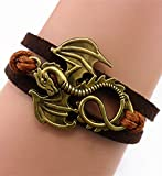 ACUNION™ Handmade Dragon Daenerys Targaryen - Game of Thrones Charm for Friendship Gift - Fashion Personalized Leather Bracelet