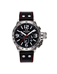 TW Steel Gents Stainless Steel Case And Black Leather With Red Stitching Strap Chronograph Watch. Black Dial