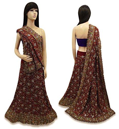 vintage indian style new bridal lehenga set net hand wulstige hochzeits kleid maroon. Black Bedroom Furniture Sets. Home Design Ideas