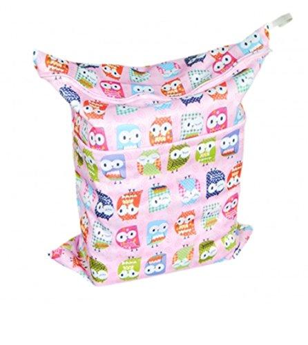 Baybea Pink Print Cloth Wet Dry Diaper Bag N3