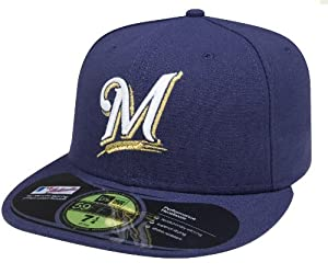 MLB Milwaukee Brewers Authentic On Field Game 59FIFTY Cap, 6 3/4, Navy Blue