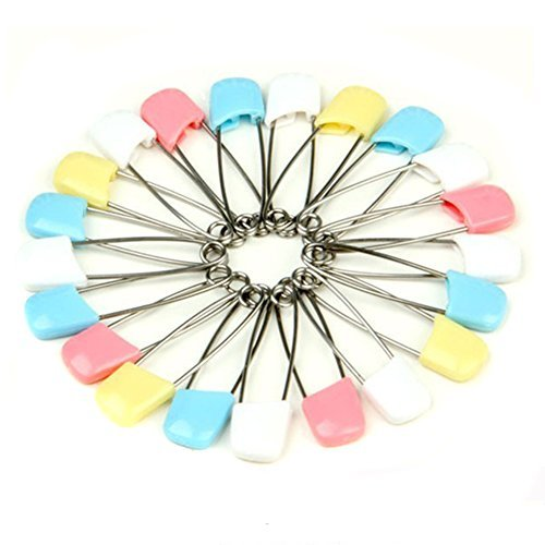 Olymstore(TM) 100 Pcs Baby Child Infant Kids Plastic Head Cloth Diaper Nappy Pins Safety Safe Hold Clip Locking Cloth Size L - Random Color