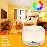 Aickar Ultrasonic Aromatherapy Essential Oil Diffuser with 500ml Capacity, 7 Changed Color and Auto Shut-off Function - White