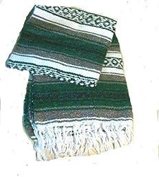Green Authentic Mexican Falsa Blanket Throw Rug Yoga Pilate Mat