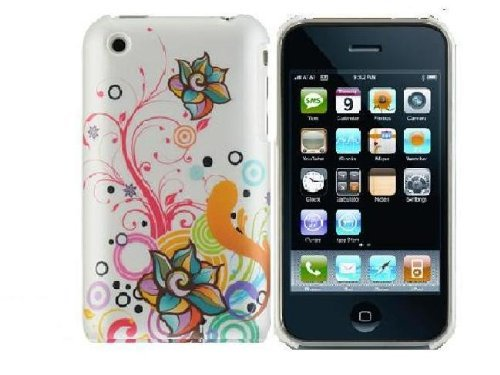 Crystal Phone Cover Case White Autumn Flower for Iphone 3g/3gs