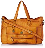 PIECES TOTALLY ROYAL LEATHER TRAVEL BAG13 17055349 Damen Henkeltaschen 48x31x14 cm (B x H x T), Braun (Cognac)
