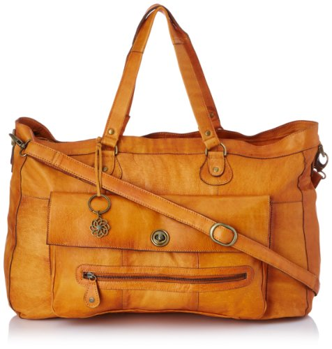 PIECES TOTALLY ROYAL LEATHER TRAVEL BAG13, Borsa a spalla donna, Marrone (Braun (Cognac 18-1421 TCX)), 48x31x14 cm (B x H x T)