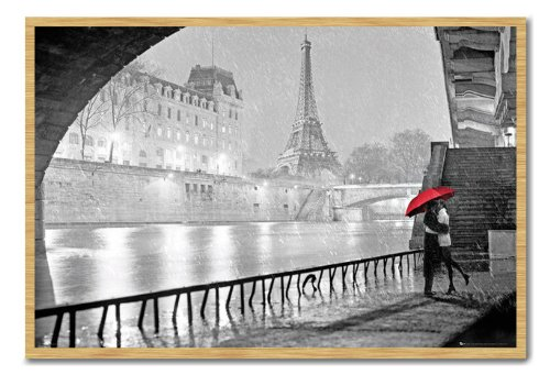 Paris Eiffel Tower Kiss Poster Cork Pin Memo Board Beech Framed - 96.5 x 66 cms (Approx 38 x 26 inches) (Paris Memo Board compare prices)