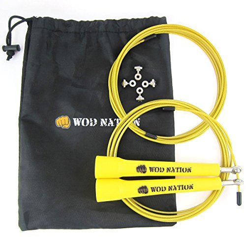 WOD Nation Speed Jump Rope - Blazing Fast Rope for Endurance training for Sports like Cross Fitness, Boxing, MMA, Martial Arts or Just Staying Fit - Fully Adjustable to Fit Men, Women and Children - YELLOW (1 Rope compare prices)