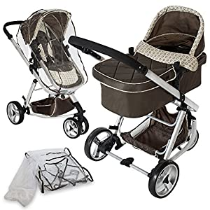 TecTake 3 in 1 Pushchair stroller combi stroller buggy baby jogger travel buggy kid's stroller brown with mosquito net + rain cover by TecTake