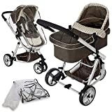 TecTake 3 in 1 Pushchair stroller combi stroller buggy baby jogger travel buggy kid's stroller brown with mosquito net + rain cover