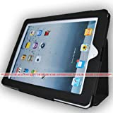 One Piece Leather Smart Cover Case (Ultra Slim) Folio Stand for Apple Ipad 2 2nd Generation Wifi / 3g Model 16gb, 32gb, 64gb Newest Model (Black)