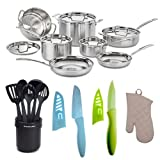 Cuisinart MCP-12N MultiClad Pro Stainless Steel 12-Piece Cookware Set + KitchenAid Cook's Ceramic Crock With Tools...