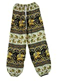 100% Rayon One Size Women's Elephant & Flower Print Exercise Yoga Harem Trousers