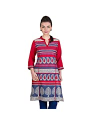 Ayaany Multi Color 3/4th Sleeve Printed Cotton Kurta For Women