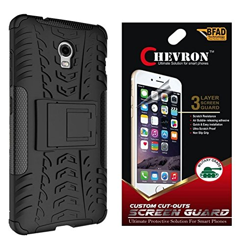 Chevron Tough Hybrid Armor Back Cover Case with Kickstand for Lenovo Vibe P1 with HD Screen Guard (Black)