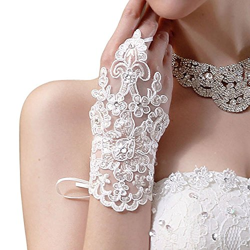 DressLove Short Lace Fingerless Rhinestone Bridal Gloves White