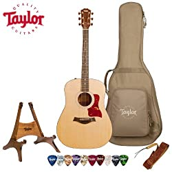 Taylor Guitars 110e with Taylor Gig Bag with Taylor Gig Bag and Taylor Pick, Strap, and Stand Bundle