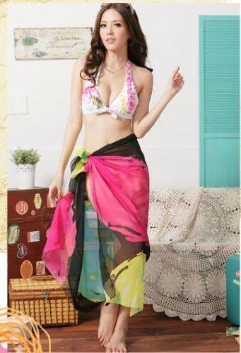 Tamari Printed Pattern Sarong Cover Up Beach Wrap One Size