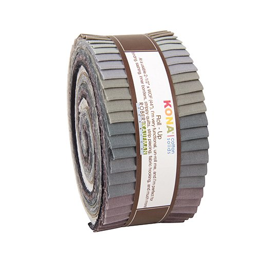 "Robert Kaufman KONA COTTON SOLIDS GRAY AREA Roll Up 2.5"" Precut Cotton Fabric Quilting Strips Jelly Roll Assortment RU-424-40"