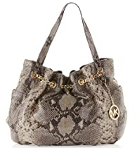 Hot Sale Michael Kors Snakeskin Leather Jet Set Chain Ring Tote Shoulder Bag Handbag Purse - Dark Sand