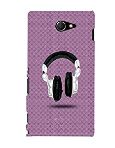 Fuson 3D Printed Music Designer back case cover for Sony Xperia M2 - D4488