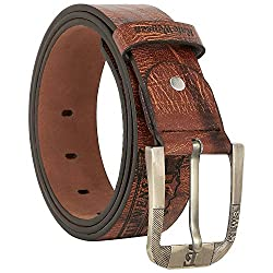 Comfort Zone India Brown Textured Men's Belt