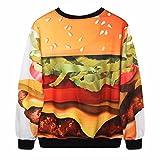 Samtree Digital Print Sweatshirts for Women,Round Neck Pullover Sweater (Hamburger)
